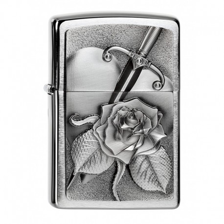 Zippo Heart with Rose